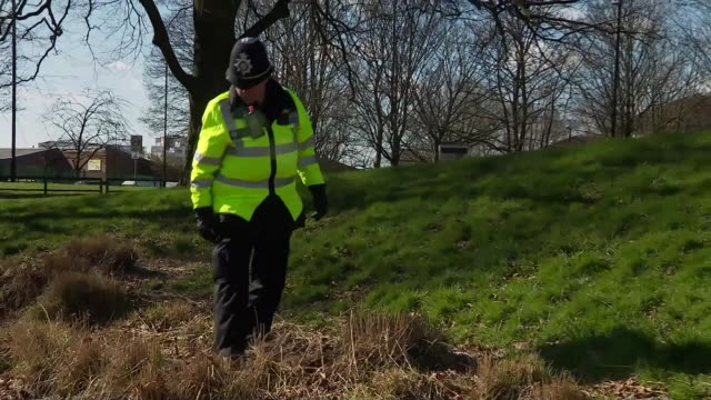 police forces launch knife crime crackdown; england: warwickshire: coventry: ext police officer with metal detector searching for knives over ground... - セキュリティスキャナ点の映像素材/bロール
