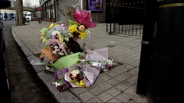police release cctv pictures of teenager moments before he was attacked; england: south london: east dulwich: ext tribute flowers left at scene of... - dulwich stock videos & royalty-free footage