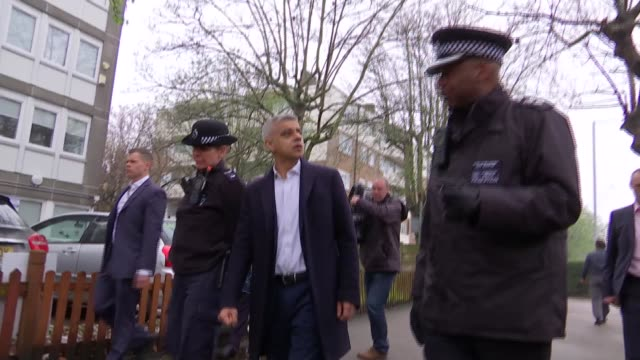 sadiq khan visits police carrying out 'weapons sweep' in croydon england london croydon ext various of sadiq khan walkabout in street with police... - sadiq khan stock videos & royalty-free footage