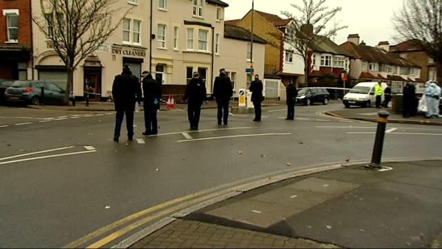 Student stabbed to death in southeast London ENGLAND London Sydenham EXT Police officer standing next to cordonedoff area of road where student...