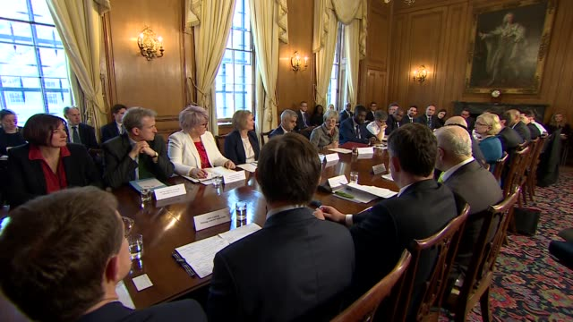 knife crime summit hosted at downing street by theresa may who says we cannot simply arrest ourselves out of this problem also in attendance are... - summit meeting stock videos and b-roll footage