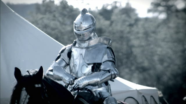 a knight and his horse prepare for a joust. - concorrente video stock e b–roll