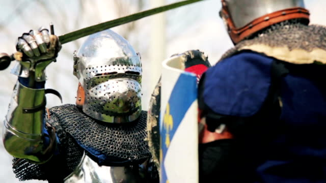 knight sword fighting - historical reenactment stock videos & royalty-free footage