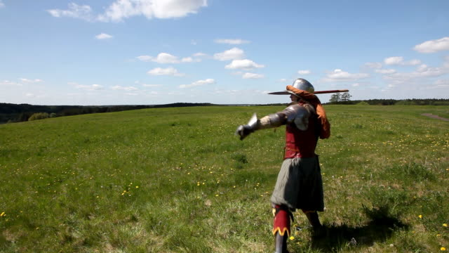 knight throwing the javelin - javelin stock videos & royalty-free footage