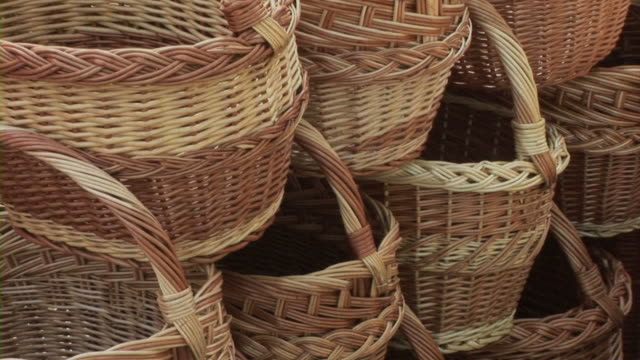 knitl baskets - wicker stock videos & royalty-free footage