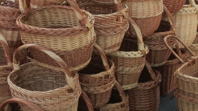 knitl baskets - medium group of objects stock videos & royalty-free footage