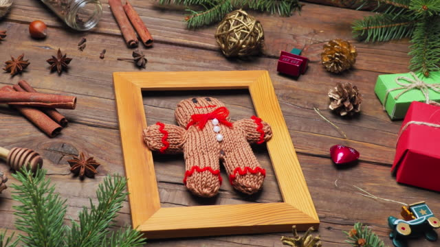 knitted gingerbread man - doll stock videos & royalty-free footage