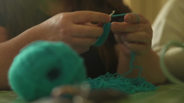cu knitting and crochet - unrecognisable person stock videos & royalty-free footage