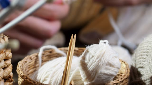 knitting as a hobby - ball of wool stock videos & royalty-free footage