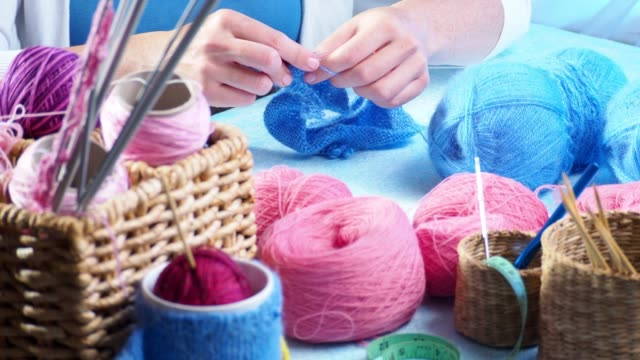 knitting as a hobby - knitting needle stock videos & royalty-free footage