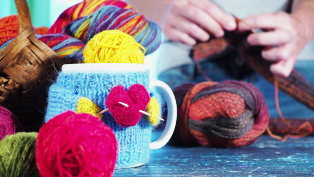 knitting with love - knitting stock videos & royalty-free footage