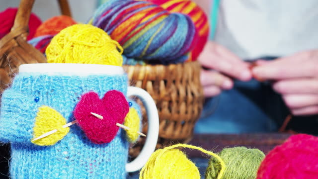 knitting with love - knitting needle stock videos & royalty-free footage