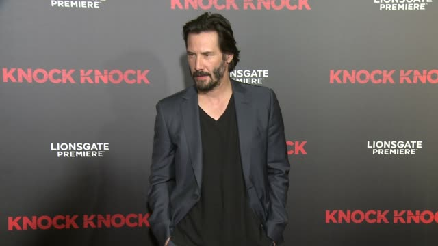 """knock knock"""" los angeles premiere at tcl chinese theatre on october 07, 2015 in hollywood, california. - keanu reeves stock videos & royalty-free footage"""