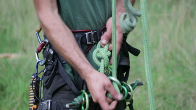 knot a job too difficult for the tree surgeon - safety harness stock videos & royalty-free footage