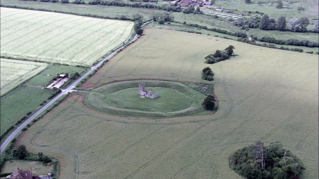 knowlton ring  - aerial view - england,  dorset,  east dorset district helicopter filming,  aerial video,  cineflex,  establishing shot,  united kingdom - ring stock videos and b-roll footage