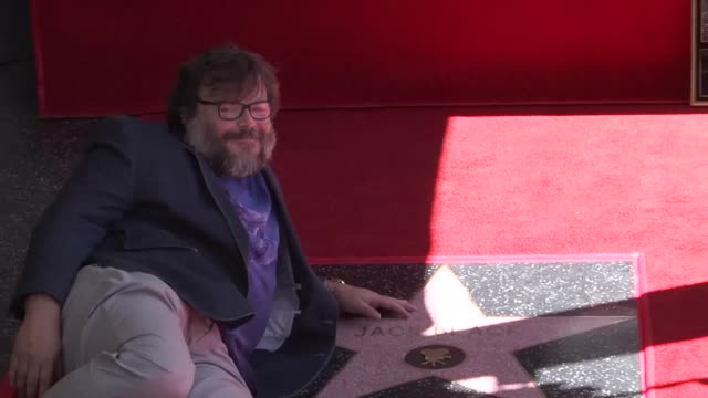 known for his role in school of rock and his voicing in the animated film kung fu panda actor and comedian jack black receives a star on hollywood... - jack black stock videos & royalty-free footage