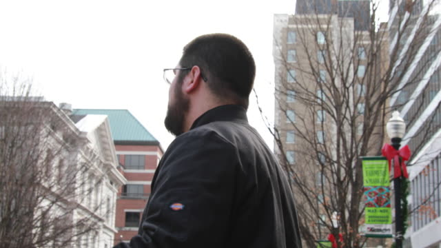 Matthew Heimbach of the Traditionalist Worker Party leads a protest rally against the 2018 Women's March Sunday January 21 2018 in Knoxville Tenn