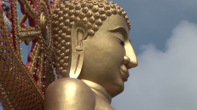 ko samui, thailandclose-up of big buddha statue in ko samui thailand - ko samui stock videos & royalty-free footage