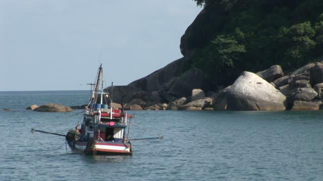Ko Samui, ThailandView of a boat anchoring in the sea at Ko Samui Thailand