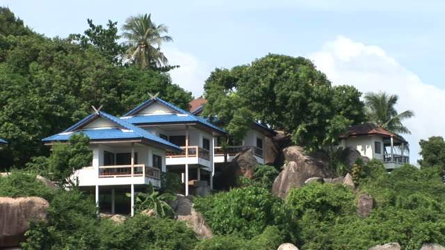 ko samui, thailandview of residential area in ko samui thailand - fan palm tree stock videos & royalty-free footage