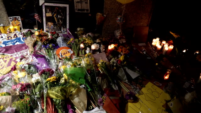 kobe bryant memorial at the mamba academy in the middle of the night the academy was the destination for the doomed helicopter flight - kobe bryant stock videos & royalty-free footage