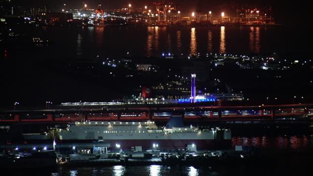 kobe port terminal in the evening, japan - フェリー船点の映像素材/bロール