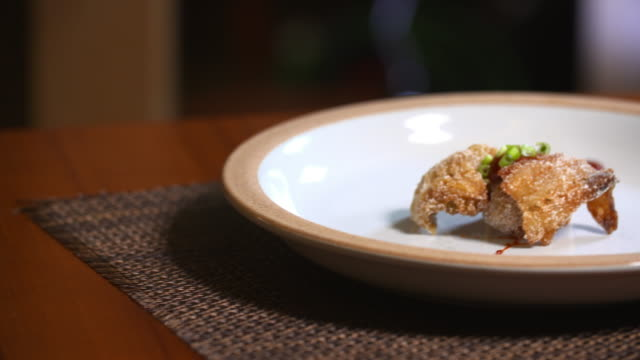 'kodari' (semi-dried pollock fish) fried with rice flour - pollock fish stock videos & royalty-free footage