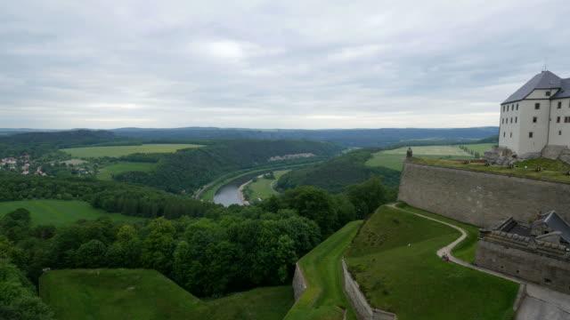 koenigstein fortress near koenigstein, elbe valley, saxon switzerland, saxony, germany - fortress stock videos & royalty-free footage