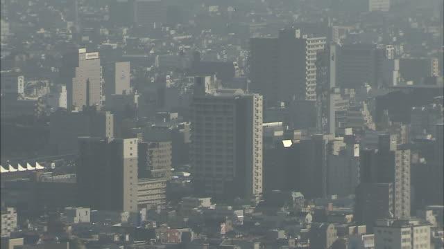 kofu basin with mount fuji, yamanashi, japan - 山梨県点の映像素材/bロール