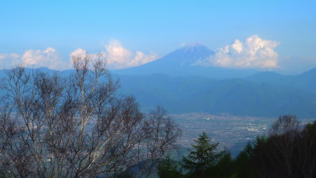 Kofu city and Mt.Fuji from Mt.Amari,Yamanashi