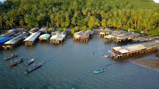 koh phitak fishing village, chumphon, thailand. - indigenous culture stock videos & royalty-free footage