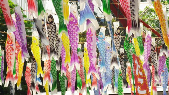 koi-no-bori display at childrens day - kindertag stock-videos und b-roll-filmmaterial
