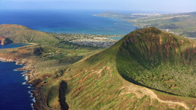 aerial koko head, oahu and hawaii kai in the background - 4k resolution stock videos & royalty-free footage