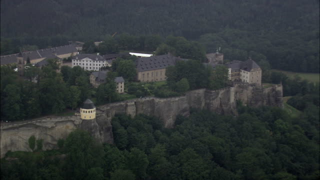 Konigstein Castle  - Aerial View - Saxony,  helicopter filming,  aerial video,  cineflex,  establishing shot,  Germany