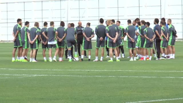 konyaspor players take part in a training session led by head coach aykut kocaman on september 14 2016 in konya turkey atiker konyaspor will face fc... - konya stock videos and b-roll footage