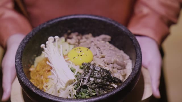 korea food  bi bim bap - south korea stock videos & royalty-free footage