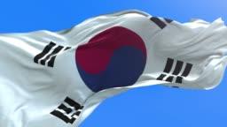 Korea South - 3D realistic waving flag background