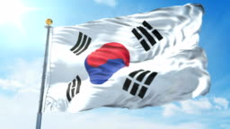 Korea South flag seamless looping 3D rendering video. Beautiful textile cloth fabric loop waving