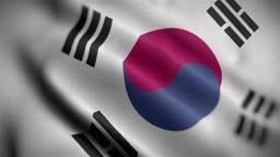 Korea South Flag Textured Waving Close Up Background HD