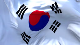 Korea South Flag Waving in Wind Slow Motion Animation . 4K Realistic Fabric Texture Flag Smooth Blowing on a windy day Continuous Seamless Loop Background.