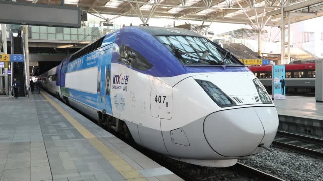 a korea train express sancheon highspeed train manufactured by hyundai rotem co waits for departure at seoul station in seoul south korea on tuesday... - winter olympic games stock videos and b-roll footage