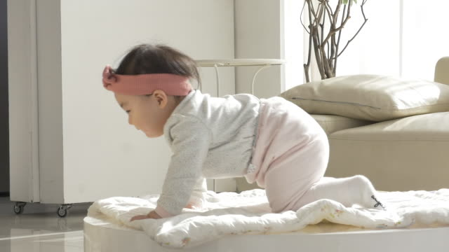a korean baby crawling - korean ethnicity stock videos & royalty-free footage