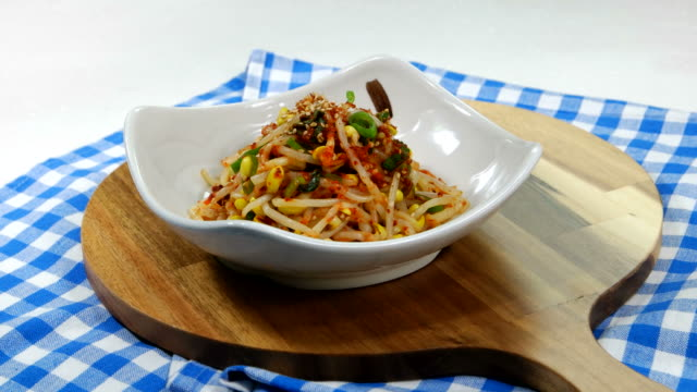 Korean dish called Kongnamul Muchim (Seasoned Soybean Sprouts)