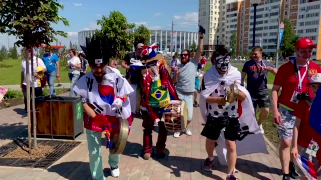 korean fans outside nizhny stadium during the 2018 fifa world cup russia - fifa world cup 2018 stock videos & royalty-free footage