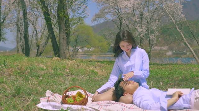 korean man and woman sitting on the grass field - 年の差カップル点の映像素材/bロール