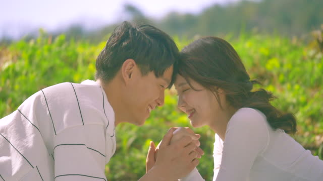 korean man and woman smiling while lying on the grass field - 年の差カップル点の映像素材/bロール