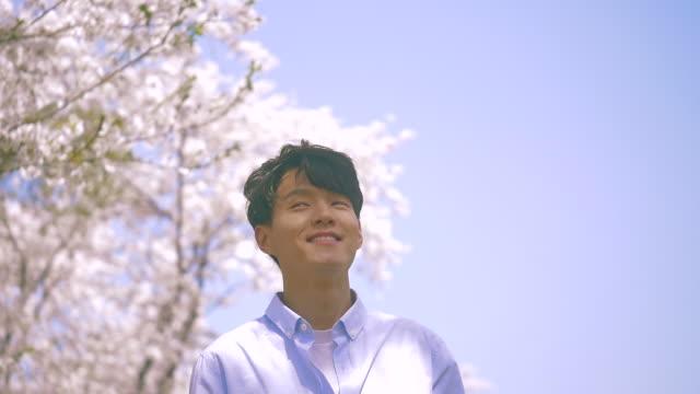korean man smiling under cherry blossom trees - 年の差カップル点の映像素材/bロール
