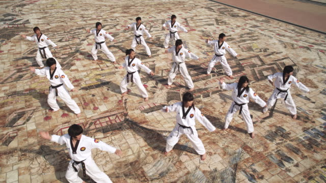 ws cs pan korean martial arts group performing taekwondo  / kyungkido, bucheon, south korea - taekwondo stock videos & royalty-free footage