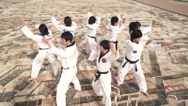 ms cs pan korean martial arts group performing taekwondo  / kyungkido, bucheon, south korea - taekwondo stock videos & royalty-free footage