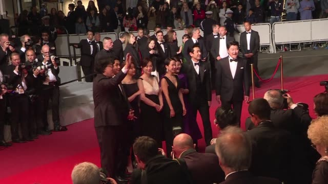 korean master bong joonho walks the cannes red carpet with the cast his film parasite in competition for the palme d'or - 72nd international cannes film festival stock videos and b-roll footage